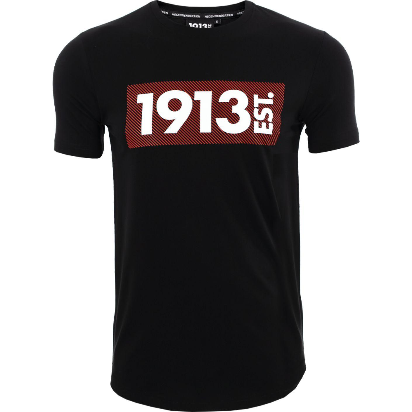 1913 T-shirt zwart Stripes rood