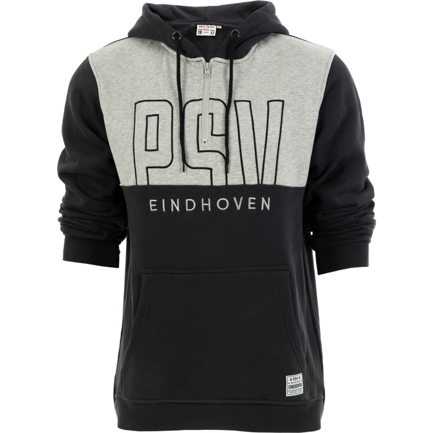 PSV 1/2 Zip Hoodie Letters donkergrijs-grijs