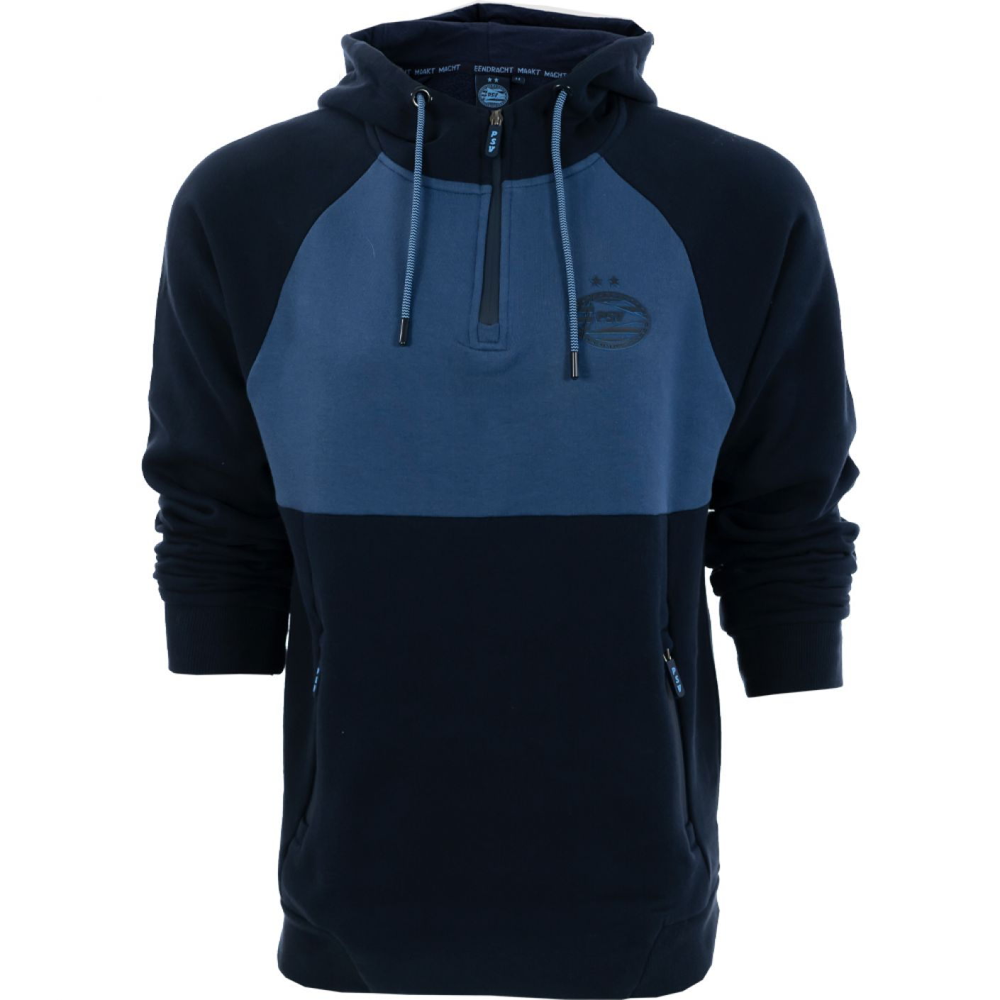 PSV 1/4 Zip Hoodie Logo Tonal d.blauw