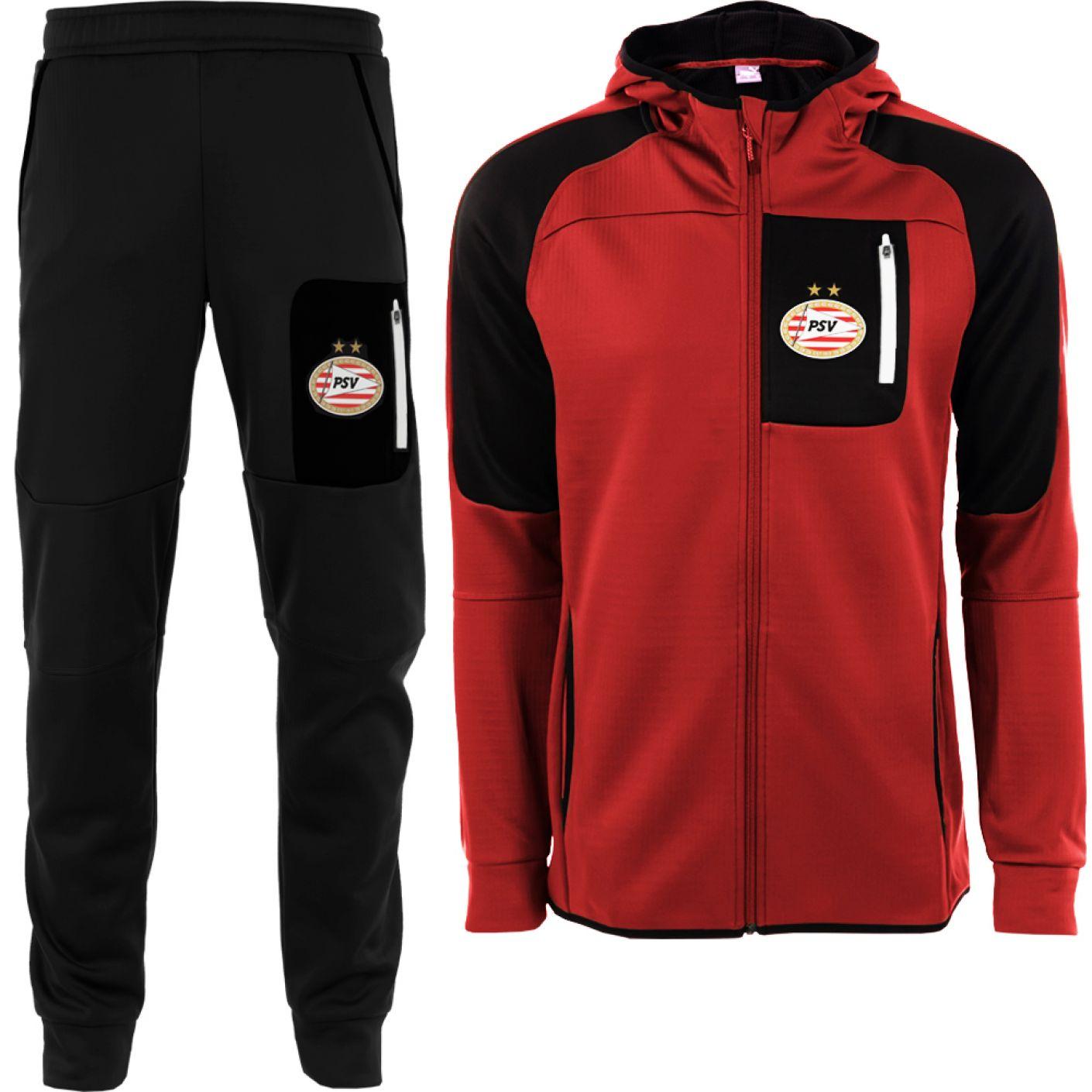 PSV/PUMA Evostripe Warm Trainingspak Zwart Rood
