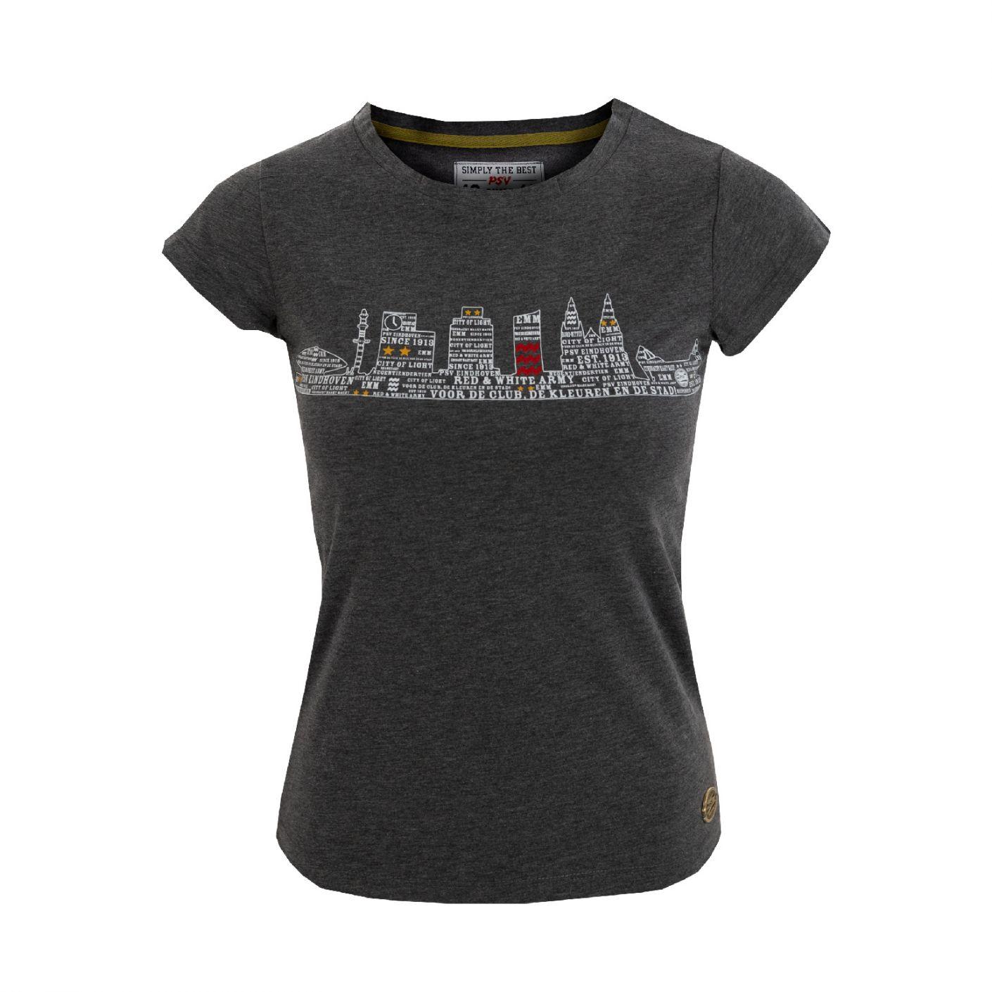 PSV T-shirt Skyline Dames d.grijs
