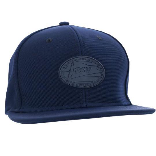 PSV Cap Flatpeak Rubber Logo d.blauw SR
