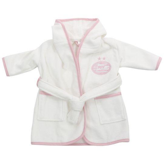 PSV Badjas Baby wit/roze