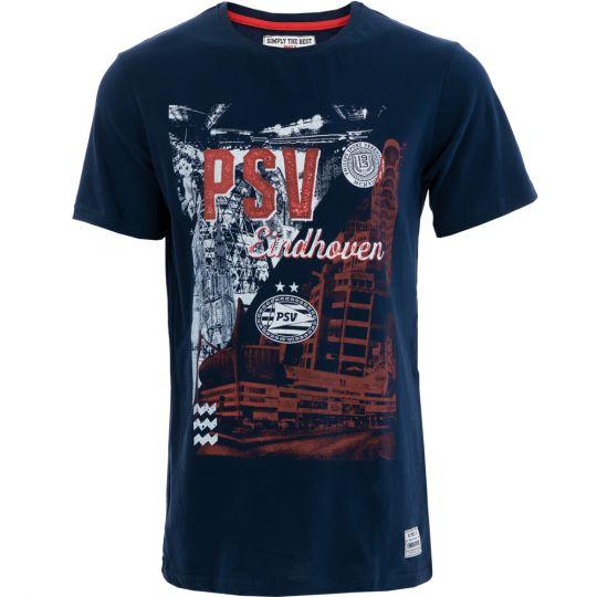 PSV T-shirt Eindhoven Collage d.blauw